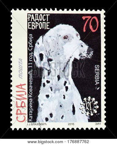 SERBIA - CIRCA 2016 : Cancelled postage stamp printed by Serbia, that shows Painting of a dog.