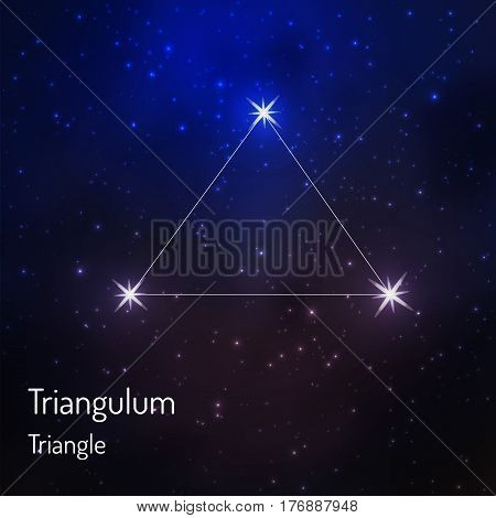 Triangulum Triangle constellation in the night starry sky. Vector illustration