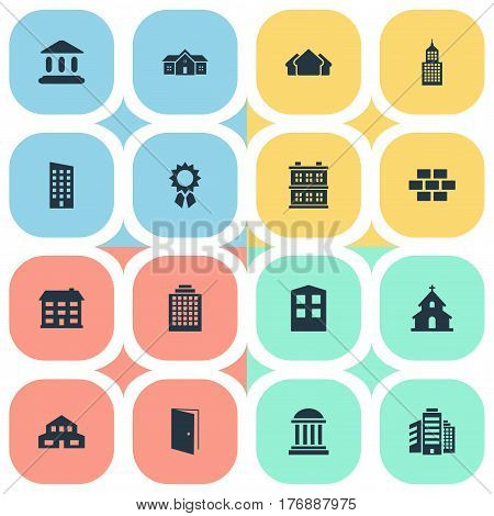 Vector Illustration Set Of Simple Structure Icons. Elements Superstructure, Structure, Residential And Other Synonyms Realty, Door And Medal.