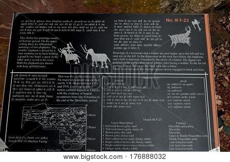 Bhimbetka rock shelters, Madhya Pradesh, India- January 22, 2016: Poster on notice board related to Bhimbetka UNESCO World Heritage Site exhibiting the earliest traces of human life on the indian subcontinent, Bhimbetka, Raisen, Madhya Pradesh, India
