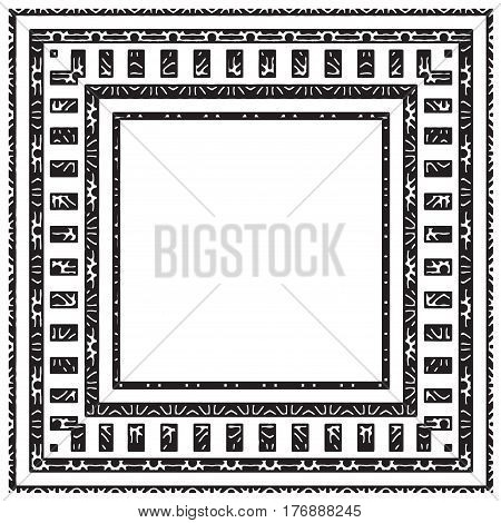 Square textured vector frame isolated on white. Geometric empty border for text. Distressed stamp. Grunge frame. Abstract geometric background.