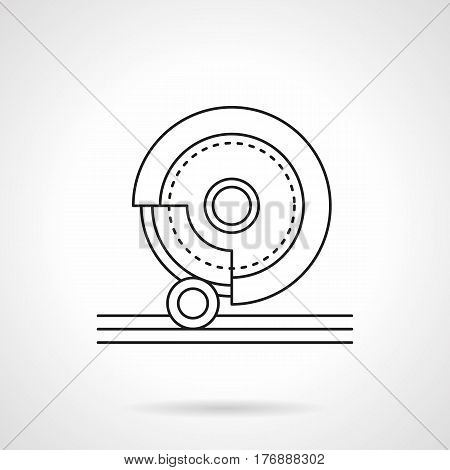 Metal processing tools and equipment. Abstract symbol of grinding machine with stone disk. Flat black line vector icon.