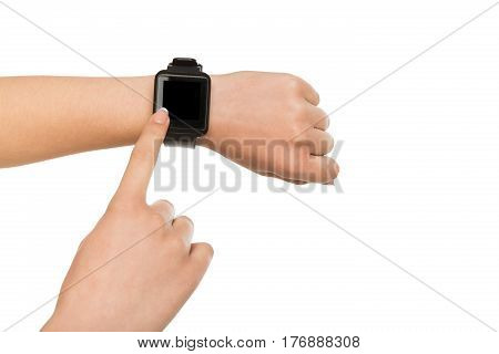 Isolated hand with smart watch with blank screen, white background cutout. Smartwatch - modern digital gadget with empty display, copy space