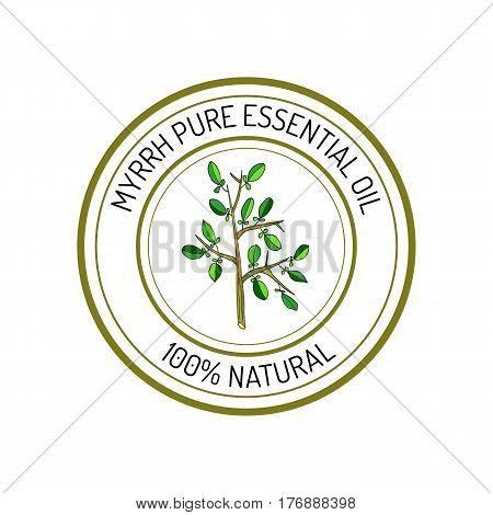 Myrrh, essential oil label, aromatic plant Vector illustration