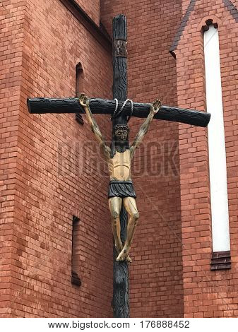 Sign of faith. Crucified Jesus on cross in Wroclaw, Poland