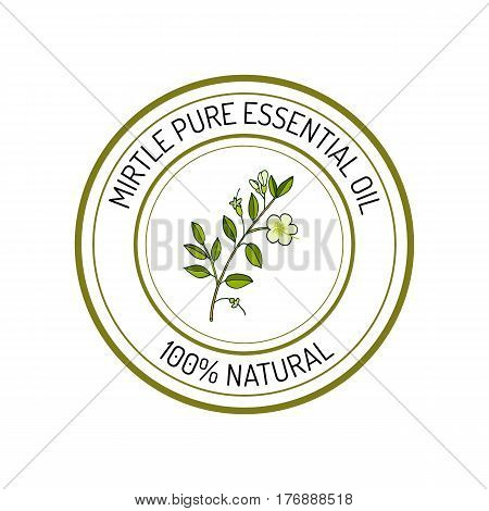 Mirtle, essential oil label, aromatic plant Vector illustration