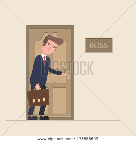 The worker is afraid to go to the boss in the office. Vector illustration in a flat style.