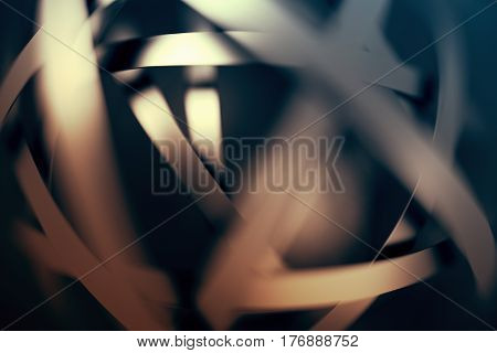 Abstract 3d rendering of futuristic background with bokeh, depth of field effect. Blurred intersecting lines. Contemporary design for poster, banner, placard, cover, print. Modern cgi illustration.