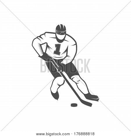 Ice Hockey player. Winter sports. Retro logo design. Old school sport logotype. Monochrome badges.