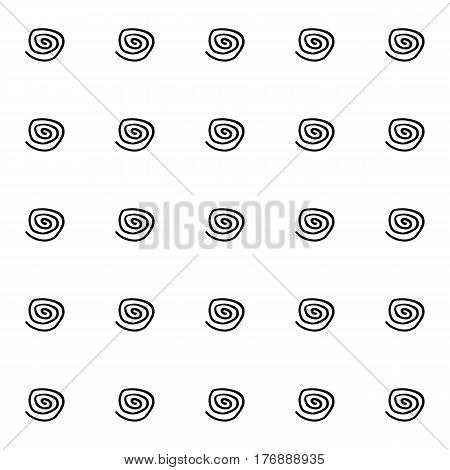 Abstract spiral pattern with hand drawn spirals. Cute vector black and white spiral pattern. Seamless monochrome spiral pattern for fabric, wallpapers, wrapping paper, cards and web backgrounds.