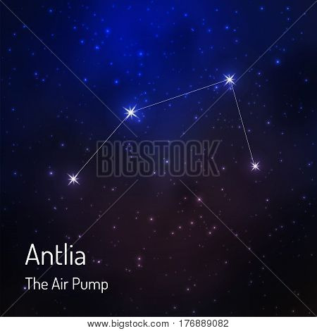 Antlia Air pump constellation in the night starry sky. Vector illustration