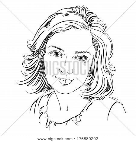 Graphic vector hand-drawn illustration of white skin attractive melancholic lady with stylish haircut. People face expressions.