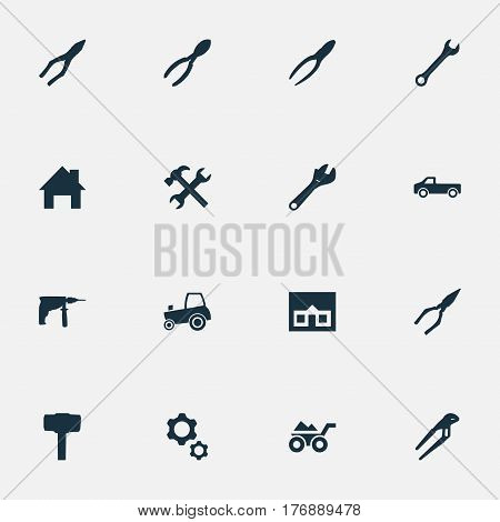 Vector Illustration Set Of Simple Build Icons. Elements Workshop, Pliers, Construction And Other Synonyms Adjustable, Tractor And Screwdriver.