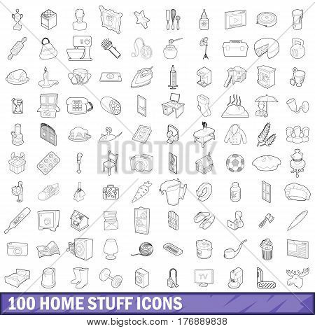 100 home stuff icons set in outline style for any design vector illustration