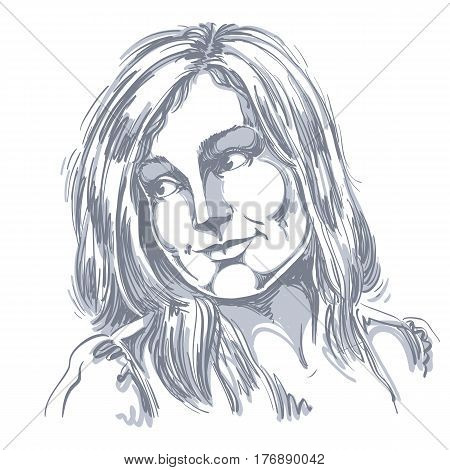 Hand-drawn portrait of white-skin romantic woman face emotions theme illustration. Beautiful dreamy lady posing on white background. Graphic artistic illustration.