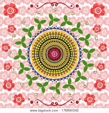 Seamless background with ethnic motifs. Happy mandala