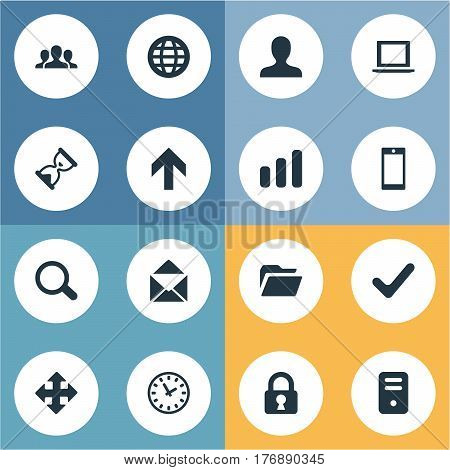 Vector Illustration Set Of Simple Apps Icons. Elements Lock, Dossier, Computer Case And Other Synonyms Touchscreen, Team And Okay.