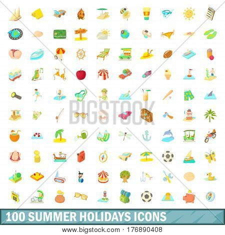 100 summer holidays icons set in cartoon style for any design vector illustration
