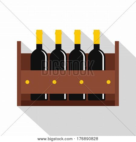 Wine bottles in a wooden crate icon. Flat illustration of wine bottles in a wooden crate vector icon for web isolated on white background