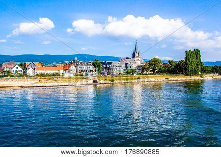 Oestrich-Winkel little town on the Rhine river in Hesse Germany
