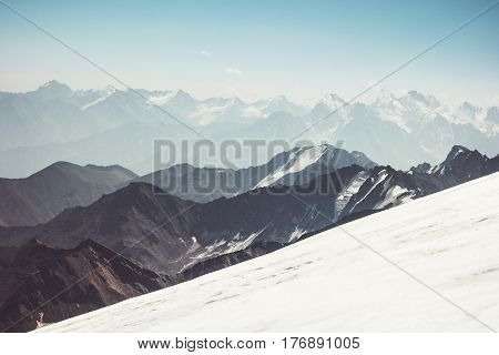 Mountains Landscape aerial view of Greater Caucasus range climbing Travel serene scenery wild nature calm atmospheric scene over 5000m altitude