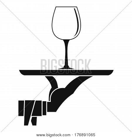 Waiter hand holding tray with wine glass icon. Simple illustration of waiter hand holding tray with wine glass vector icon for web