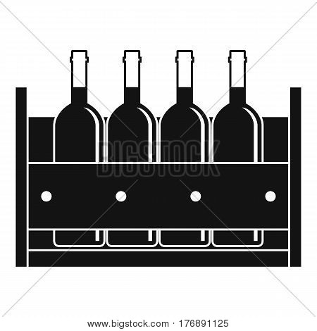 Four bottles of wine in a wooden box icon. Simple illustration of four bottles of wine in a wooden box vector icon for web