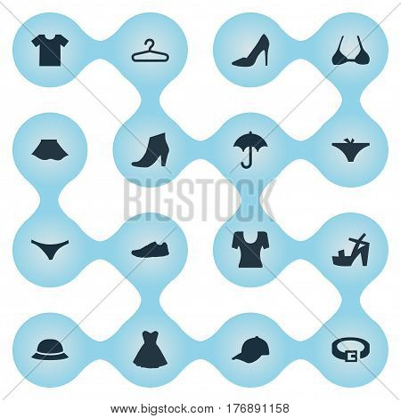 Vector Illustration Set Of Simple Wardrobe Icons. Elements Exercise Foorwear, Lingerie, Female Cloth And Other Synonyms Bra, Rack And Cap.