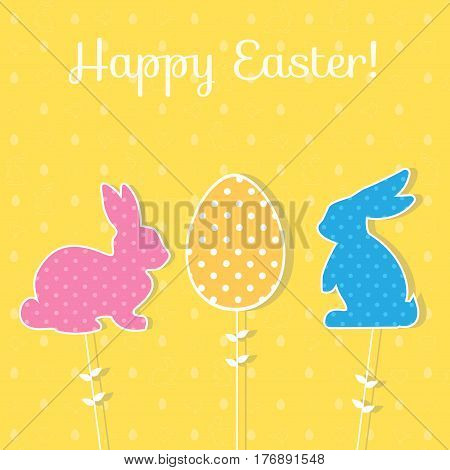Easter paper decoration in the form of bunny and egg. Holiday symbols on green background for invitations, posters and easter cards