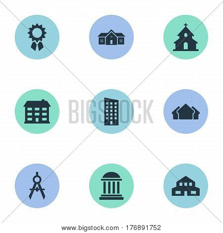 Vector Illustration Set Of Simple Structure Icons. Elements Residential, Academy, Engineer Tool And Other Synonyms Direction, Residential And Cottage.