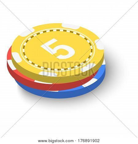 Stack of poker chips icon. Isometric 3d illustration of stack of poker chips vector icon for web