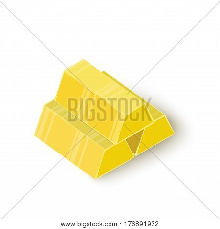 Three gold bars icon. Isometric 3d illustration of three gold bars vector icon for web