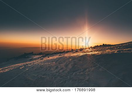 Mountains sunrise view from Elbrus mountain Travel over 5000m altitude natural colors morning calm scenery epic moments