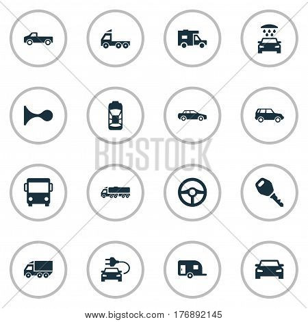 Vector Illustration Set Of Simple Car Icons. Elements Carriage, Car Charging, Vehicle And Other Synonyms Mega, Shower And Cargo.
