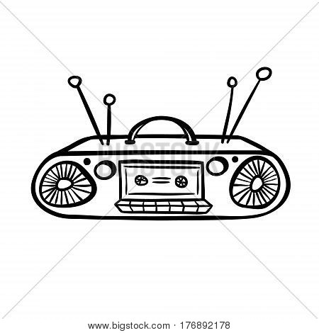 Tape recorder in doodle style. Hand drawn vector illustration isolated on white.