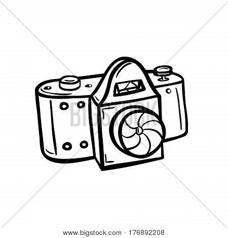 Hand drawn vector illustration of a camera. Take a photo, take a picture. Simple line style drawing. Doodle, sketchy. Black on white background.