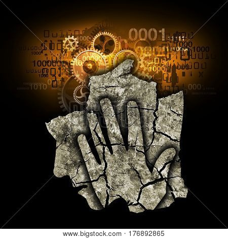 Digital Demention Burnout Syndrome,Stylized silhouette of Man holding his head. Photo-montage with Dry cracked earth and gear and binary codes symbolizing digital dementia.