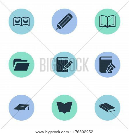Vector Illustration Set Of Simple Education Icons. Elements Folder, Academic Cap, Studying And Other Synonyms Write, Novel And Hat.