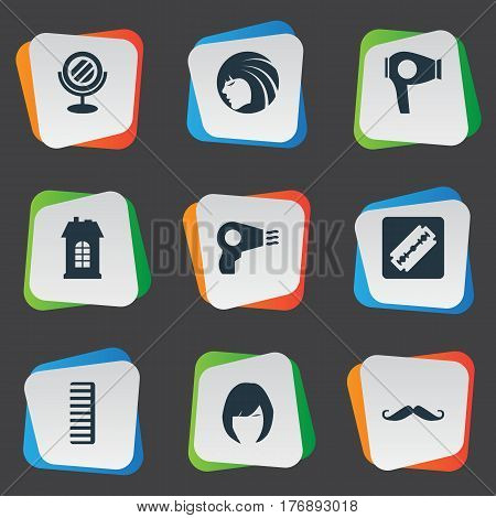 Vector Illustration Set Of Simple Barber Icons. Elements Glamour Lady, Hackle, Blow Dryer And Other Synonyms Lady, Razor And Man.