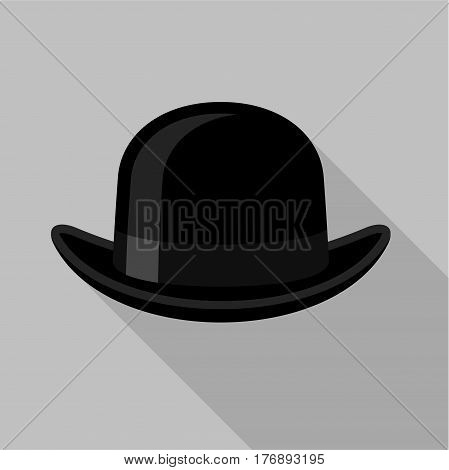 Black bowler hat icon. Flat illustration of black bowler hat vector icon for web