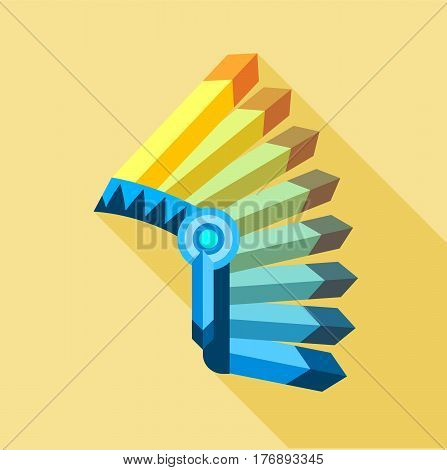 Indian feather headdress icon. Flat illustration of Indian feather headdress vector icon for web