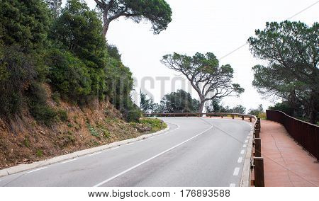 Winding And Turning Road In Mountains