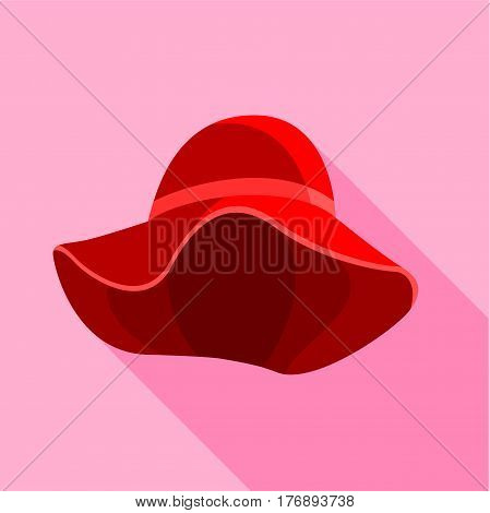 Red female hat with wide brim icon. Flat illustration of red female hat with wide brim vector icon for web