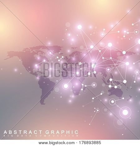 Dotted World Map with global technology networking concept. Digital data visualization. Scientific cybernetic particle compounds. Big Data background communication. Vector illustration