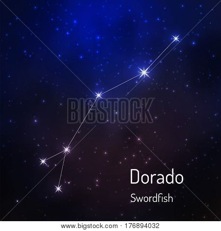 Dorado Swordfish constellation in the night starry sky. Vector illustration