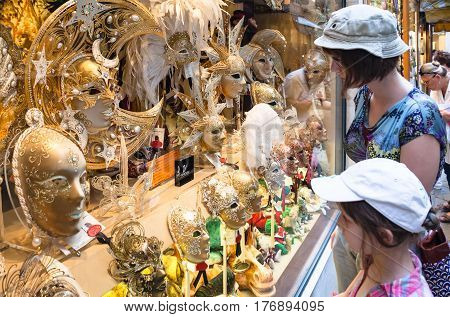 Tourist View On Expensive Carnival Masks