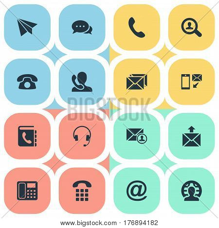 Vector Illustration Set Of Simple Contact Icons. Elements Telephone Switchboard, Telephone, New-Come Letter And Other Synonyms Book, House And Symbol.