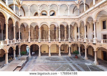 Courtyard Of Palazzo Dei Normanni In Palermo City