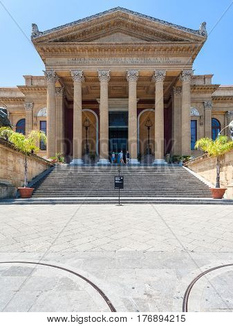 Tourists Near Doors Of Teatro Massimo In Palermo