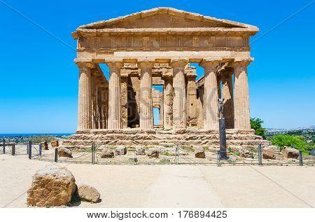 Front View Of Tempio Della Concordia In Agrigento